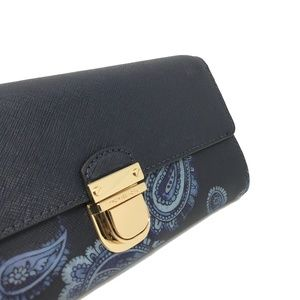 f99f93295e44 Michael Kors Bags - Michael Kors Bridgette Paisley Leather Blue Wallet